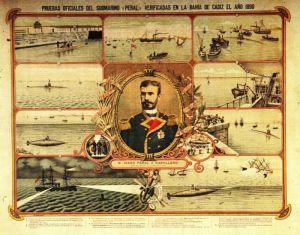 14466608889560Pruebas del submarino de Isaac Peral.